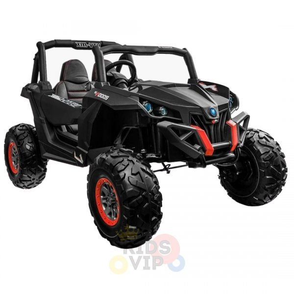 kidsvip 2 seater ride on utv sport 24v rubber wheels toddlers kids black 3