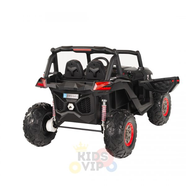 kidsvip 2 seater ride on utv sport 24v rubber wheels toddlers kids black 6