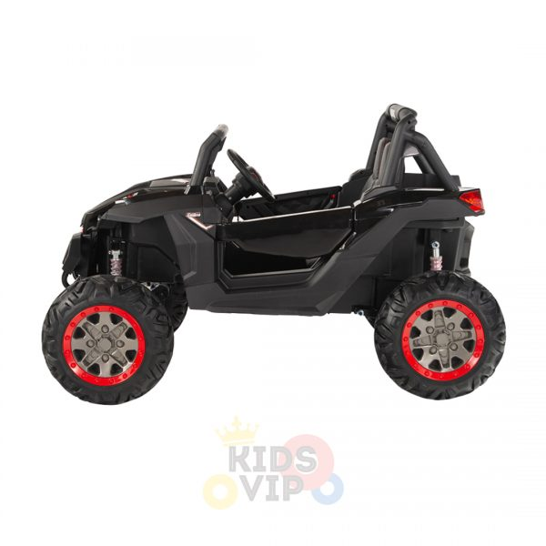 kidsvip 2 seater ride on utv sport 24v rubber wheels toddlers kids black 7