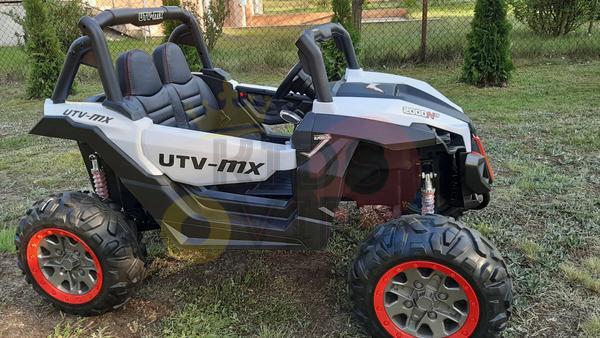 kidsvip 2 seater ride on utv sport 24v rubber wheels toddlers kids white 4