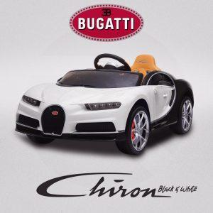 Kids Bugatti Chiron Licensed Electric Ride On Car White Black 960x960