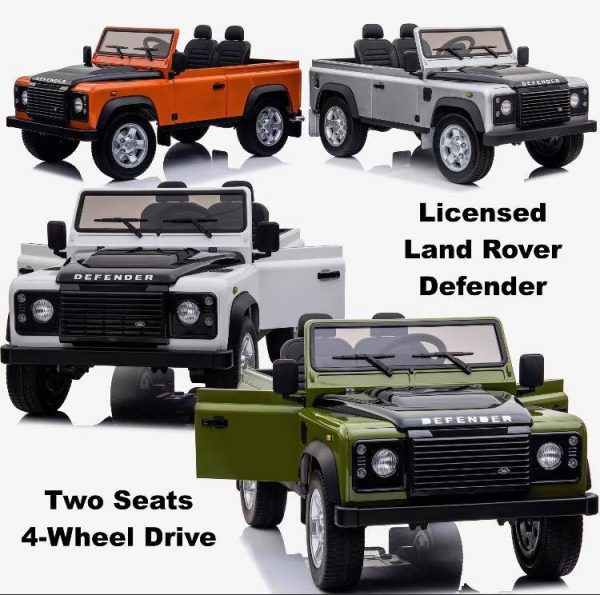 land rover defender kids toddlers ride on car truck rubber wheels leather seat kidsvip 3