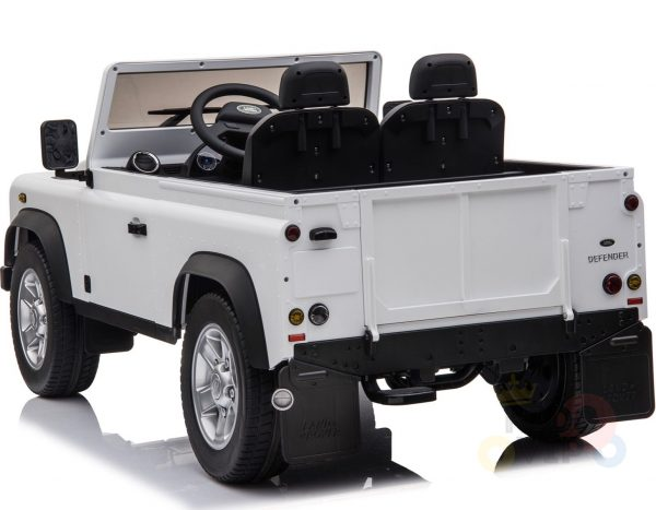 land rover defender kids toddlers ride on car truck rubber wheels leather seat kidsvip white 1
