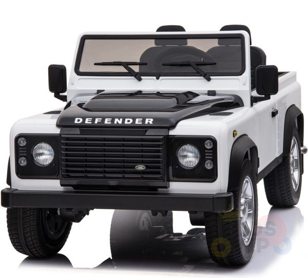 land rover defender kids toddlers ride on car truck rubber wheels leather seat kidsvip white 10