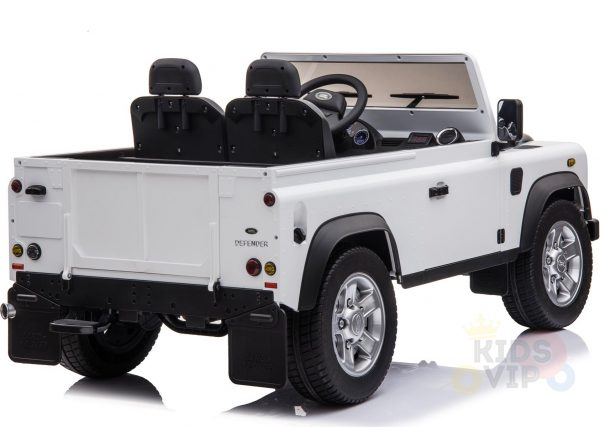 land rover defender kids toddlers ride on car truck rubber wheels leather seat kidsvip white 3