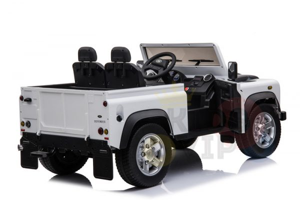 land rover defender kids toddlers ride on car truck rubber wheels leather seat kidsvip white 5