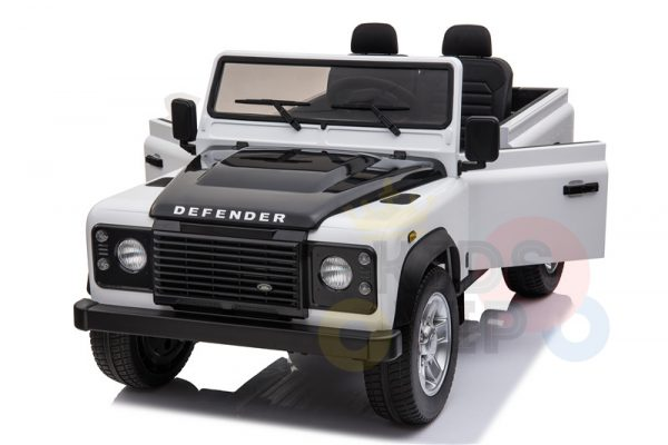 land rover defender kids toddlers ride on car truck rubber wheels leather seat kidsvip white 7