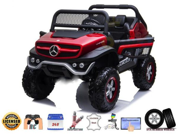 Official Complete MP4 Edition 2 Seater Mercedes Unimog 24V Kids Ride On Car with Remote Control