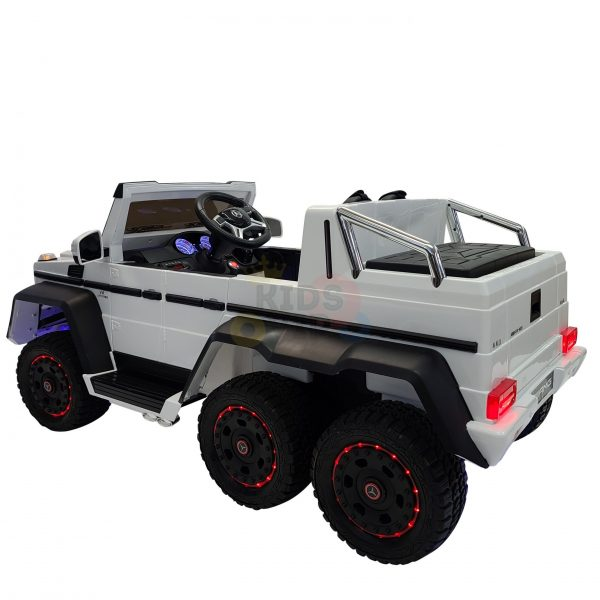 kidsvip 6x6 mercedes g63 ride on heavy duty ride on truck rubber wheels kids toddlers white 12