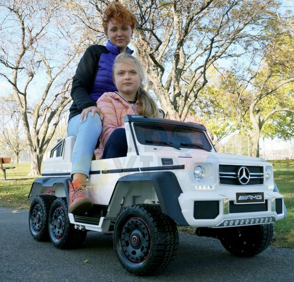 kidsvip 6x6 mercedes g63 ride on heavy duty ride on truck rubber wheels kids toddlers white 15