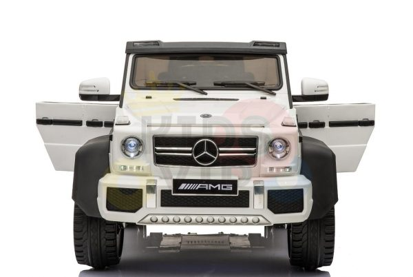 kidsvip 6x6 mercedes g63 ride on heavy duty ride on truck rubber wheels kids toddlers white 81