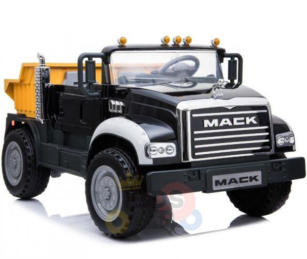 KIDSVIP 12V 2 SEATER MACK TRUCK LEATHER RUBBER WHEELS RC black 6