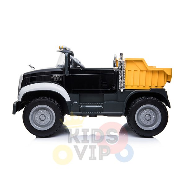 KIDSVIP 12V 2 SEATER MACK TRUCK LEATHER RUBBER WHEELS RC black 8
