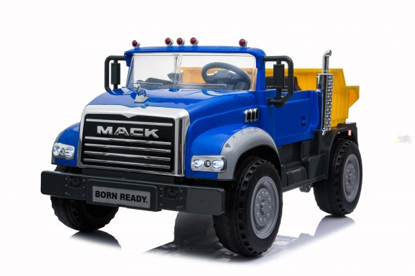 KIDSVIP 12V 2 SEATER MACK TRUCK LEATHER RUBBER WHEELS RC blue 3