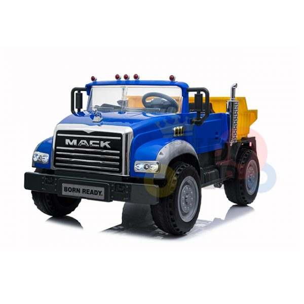KIDSVIP 12V 2 SEATER MACK TRUCK LEATHER RUBBER WHEELS RC blue 5