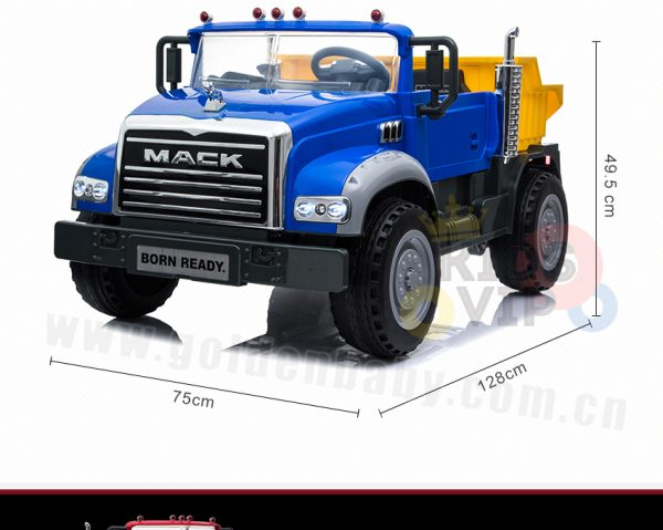 KIDSVIP 12V 2 SEATER MACK TRUCK LEATHER RUBBER WHEELS RC blue 8