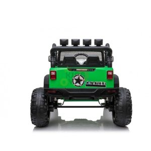 kidsvip 24v ride on truck rubber wheels leather seat big wheels lifted crowler green 10