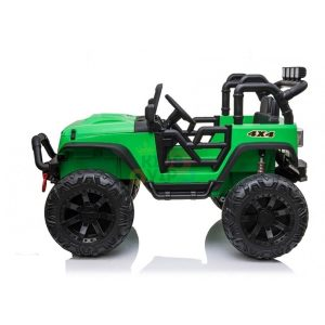 kidsvip 24v ride on truck rubber wheels leather seat big wheels lifted crowler green 14