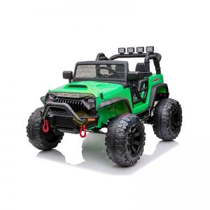 kidsvip 24v ride on truck rubber wheels leather seat big wheels lifted crowler green 15