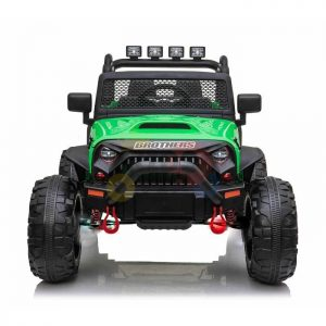 kidsvip 24v ride on truck rubber wheels leather seat big wheels lifted crowler green 2