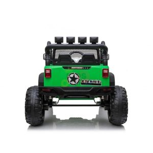kidsvip 24v ride on truck rubber wheels leather seat big wheels lifted crowler green 4