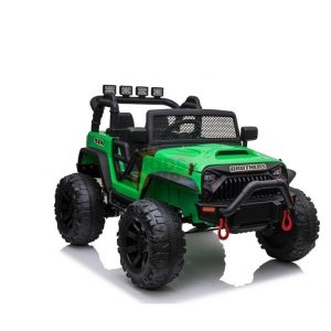 kidsvip 24v ride on truck rubber wheels leather seat big wheels lifted crowler green 7
