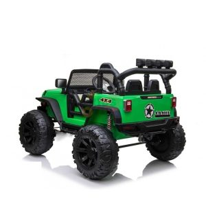 kidsvip 24v ride on truck rubber wheels leather seat big wheels lifted crowler green 8