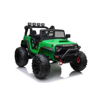 kidsvip 24v ride on truck rubber wheels leather seat big wheels lifted crowler green 9