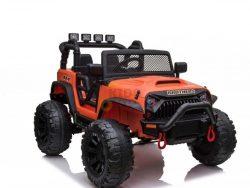 kidsvip 24v ride on truck rubber wheels leather seat big wheels lifted crowler orange 1