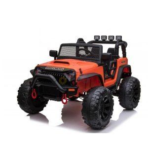 kidsvip 24v ride on truck rubber wheels leather seat big wheels lifted crowler orange 2