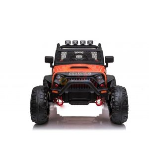 kidsvip 24v ride on truck rubber wheels leather seat big wheels lifted crowler orange 3