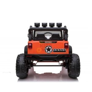 kidsvip 24v ride on truck rubber wheels leather seat big wheels lifted crowler orange 5