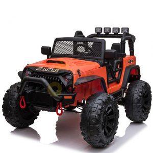 kidsvip 24v ride on truck rubber wheels leather seat big wheels lifted crowler orange 6