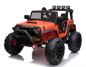 kidsvip 24v ride on truck rubber wheels leather seat big wheels lifted crowler orange 8