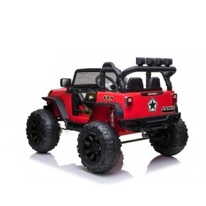 kidsvip 24v ride on truck rubber wheels leather seat big wheels lifted crowler red 12