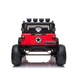 kidsvip 24v ride on truck rubber wheels leather seat big wheels lifted crowler red 13