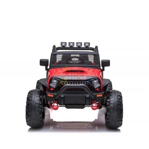 kidsvip 24v ride on truck rubber wheels leather seat big wheels lifted crowler red 4